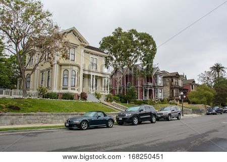 Los Angeles, California, USA - June 13, 2015: A quiet street with old houses in Victorian style in Los Angeles