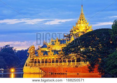 Karaweik Palace at sunset , Myanmar Yangon landmark