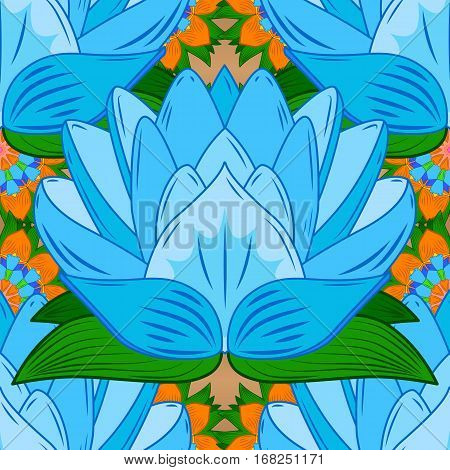 Vector Seamless continuous wallpaper tile. Lotus flower design created in blue tones.