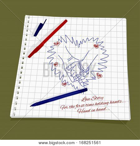 Love Story - holding hands. Vector illustration of a loving couple holding hands. Cute Romantic simple drawing a red and blue ballpoint pen on squared paper - man's hand taking woman's hand