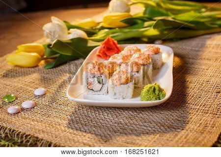 Traditional Sushi Rolls Made Of Rice With Caviar And Sauce