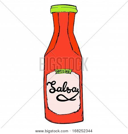 Salsa sauce bottle with hand drawn letters. Hot spicy dressing jar. Vector illustration.