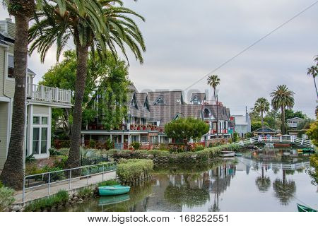 Water channels beautiful district of Venice, Los Angeles, California United States