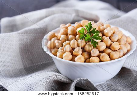 Chickpeas In Bowl With Parsley