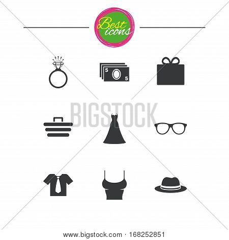 Accessories, clothes icons. Shirt with tie, glasses signs. Dress and engagement ring symbols. Classic simple flat icons. Vector