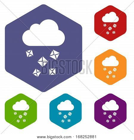 Cloud and hail icons set rhombus in different colors isolated on white background