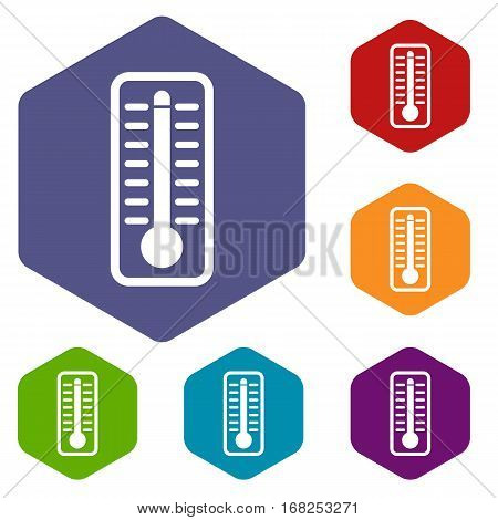 Thermometer indicates extremely high temperature icons set rhombus in different colors isolated on white background
