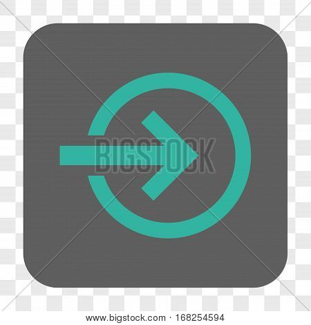 Import interface toolbar button. Vector icon style is a flat symbol on a rounded square button cyan and gray colors chess transparent background.
