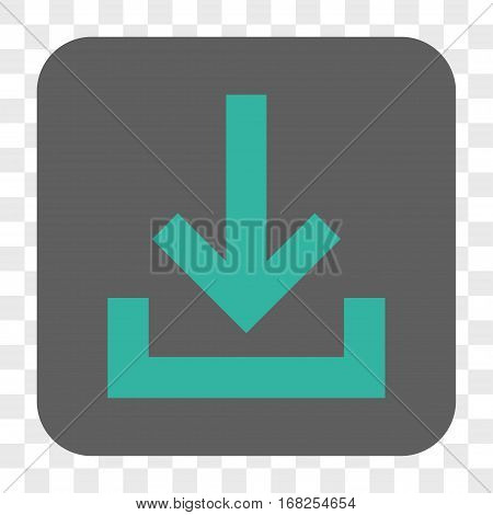 Inbox interface toolbar button. Vector icon style is a flat symbol on a rounded square button cyan and gray colors chess transparent background.