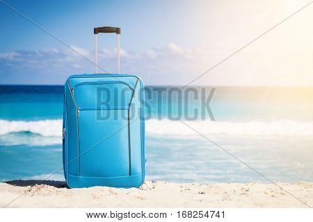 Travel Trolley On Tropical Seaside