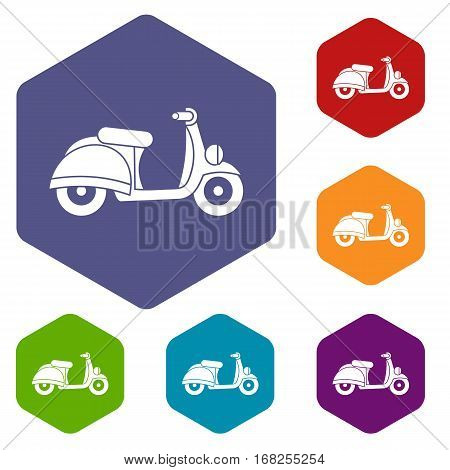 Motorbike icons set rhombus in different colors isolated on white background
