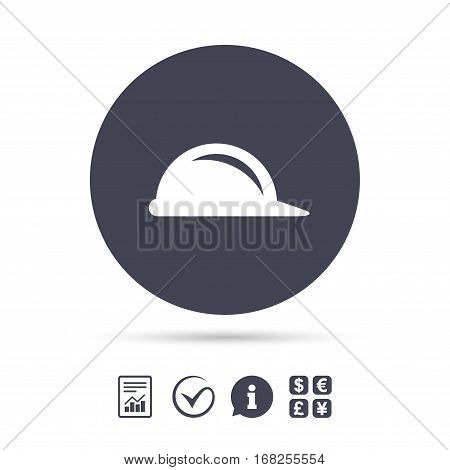 Hard hat sign icon. Construction helmet symbol. Report document, information and check tick icons. Currency exchange. Vector