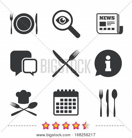 Plate dish with forks and knifes icons. Chief hat sign. Crosswise cutlery symbol. Dining etiquette. Newspaper, information and calendar icons. Investigate magnifier, chat symbol. Vector