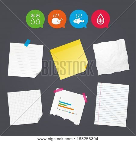 Business paper banners with notes. Defrosting drop and snowflake icons. Hot fish and chicken signs. From ice to water symbol. Sticky colorful tape. Speech bubbles with icons. Vector