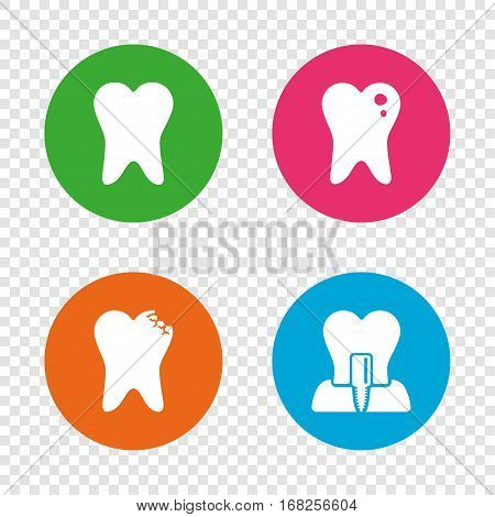Dental care icons. Caries tooth sign. Tooth endosseous implant symbol. Round buttons on transparent background. Vector