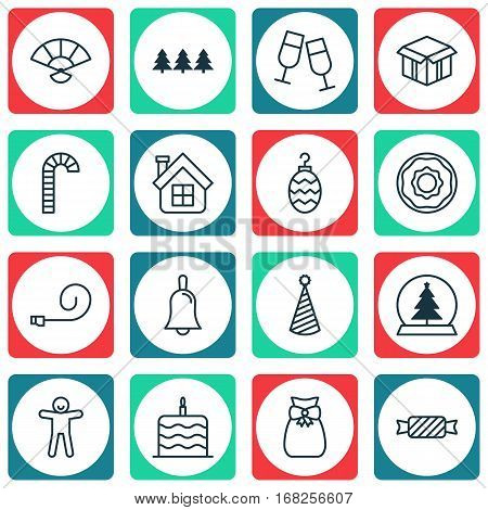 Set Of 16 Holiday Icons. Includes Birthday Hat, Handbell, Present Pouch Symbols. Beautiful Design Elements.