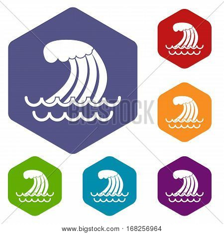 Tsunami wave icons set rhombus in different colors isolated on white background
