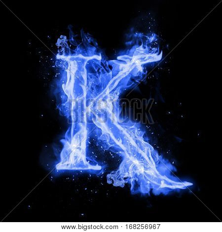 Fire letter K of burning blue flame. Flaming burn font or bonfire alphabet text with sizzling smoke and fiery or blazing shining heat effect. Incandescent cold fire glow on black background.