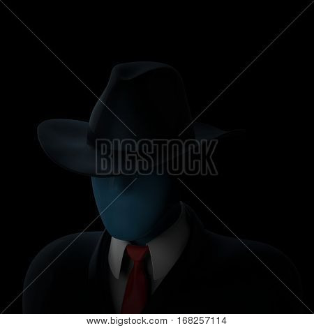 Faceless anonymous computer hacker in darkness 3D illustration