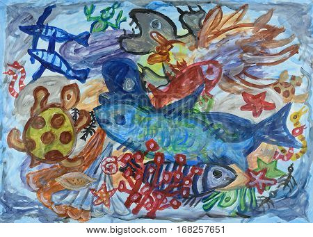 Underwater world abstract art background. Acrylic painting.