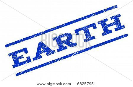 Earth watermark stamp. Text caption between parallel lines with grunge design style. Rotated rubber seal stamp with dust texture. Vector blue ink imprint on a white background.