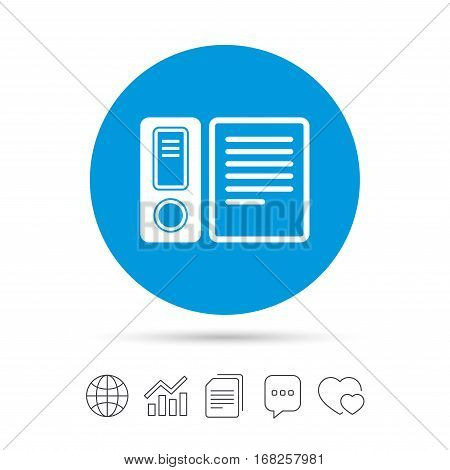 Document folder sign. Accounting binder symbol. Bookkeeping management. Copy files, chat speech bubble and chart web icons. Vector