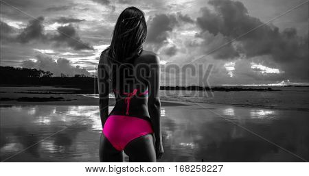 White Millennial Female Looks Out Onto The Stormy Sunset On The Beaches Of St John