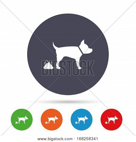 Feces sign icon. Clean up after pets symbol. Put it in the bag. Round colourful buttons with flat icons. Vector