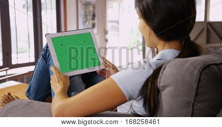 Millennial White Girl Chats On Her Tablet With Greenscreen
