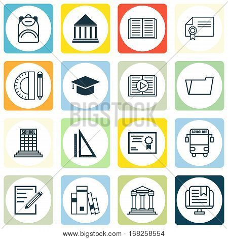 Set Of 16 Education Icons. Includes Opened Book, Document Case, Education Tools And Other Symbols. Beautiful Design Elements.