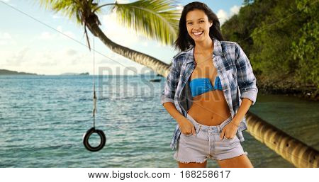 Young White Girl Poses Near The Caribbean Shore And A Rope-tire Swing