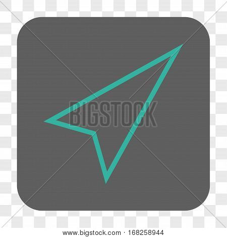 Pointer Right Up interface toolbar button. Vector icon style is a flat symbol inside a rounded square button cyan and gray colors chess transparent background.