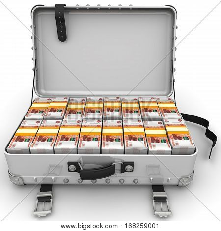 Suitcase full of money. A suitcase filled with bundles of Russian rubles. Isolated. 3D Illustration