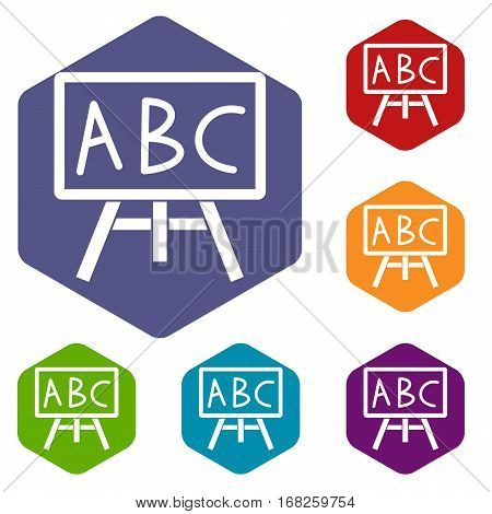 Chalkboard with the leters ABC icons set rhombus in different colors isolated on white background