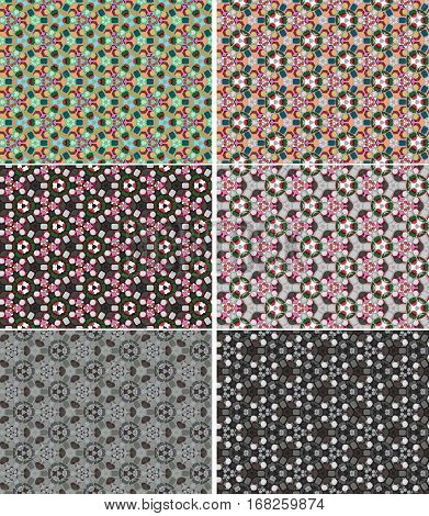 The vector color kaleidoscope backgrounds set (non seamless)