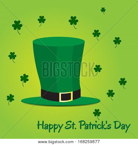 Leprechaun hat on green background with shamrock. Picture ready for use in St. Patrick holiday thematic
