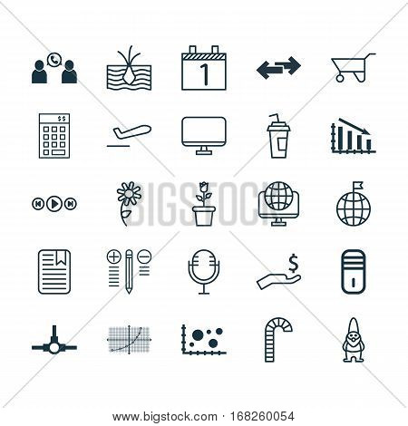 Set Of 25 Universal Editable Icons. Can Be Used For Web, Mobile And App Design. Includes Elements Such As Agenda, Mike, Lollipop And More.