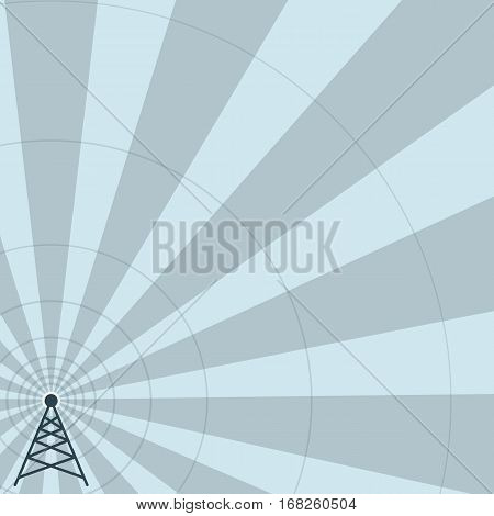 World radio day. Radio tower on striped background