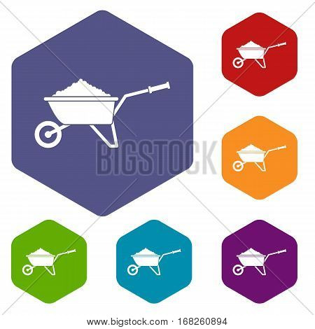 Wheelbarrow loaded with soil icons set rhombus in different colors isolated on white background