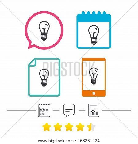 Light bulb icon. Lamp E14 screw socket symbol. Illumination sign. Calendar, chat speech bubble and report linear icons. Star vote ranking. Vector