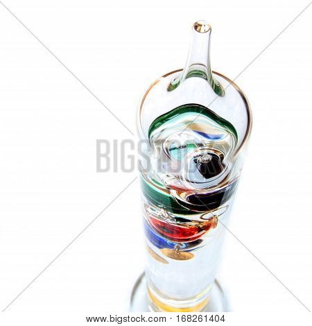 Shallow Focus Shot Looking Down On Galileo Thermometer