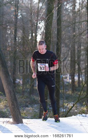 OLDENZAAL NETHERLANDS - JANUARY 22 2017: Unknown athlete runs up a hill during a cross run in a forest