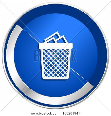 Trash can silver metallic web and mobile phone vector icon in eps 10.