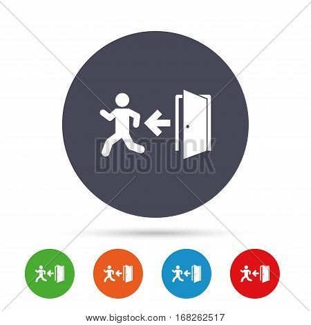 Emergency exit with human figure sign icon. Door with left arrow symbol. Fire exit. Round colourful buttons with flat icons. Vector