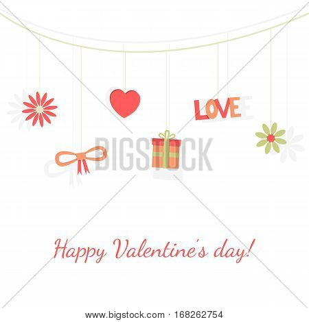 Vector illustration of Valentine's day card design concept. Elements set in mild colors, referred to love theme. Isolated on white background.
