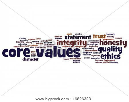 Vector conceptual core values integrity ethics abstract concept word cloud isolated on background metaphor to honesty quality, trust, statement, character, important, perseverance, respect trustworthy