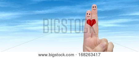 Concept or conceptual human or female hands with two fingers painted with a red heart and smiley faces over cloud blue sky background banner for valentine, romantic, love, couple, young family wedding