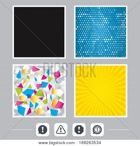 Carbon fiber texture. Yellow flare and abstract backgrounds. Attention icons. Exclamation speech bubble symbols. Caution signs. Flat design web icons. Vector