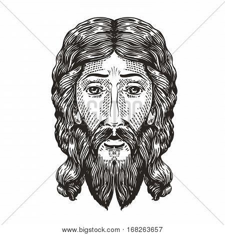 God sketch. Jesus Christ drawn in engraving style. Vintage vector