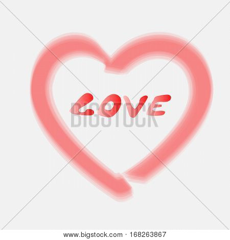 Stock smeared contour red heart and the word love on the day of Valentine.